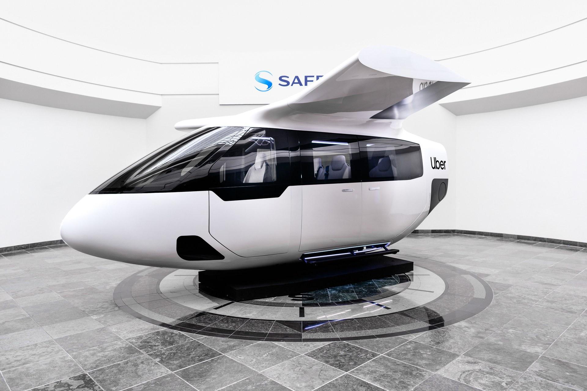 photo de la maquette prototype de la cabine du projet de taxi volant Uber Air présenté à Elevate et conçu par Safran Cabin
