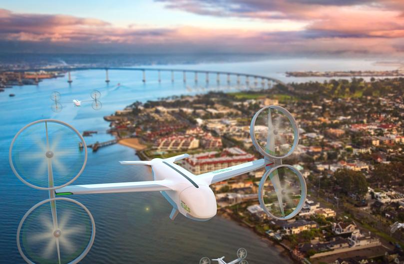 Image de drone Uber Eats qui commencera la livraison de commandes et menus à San Diego dès l été 2019