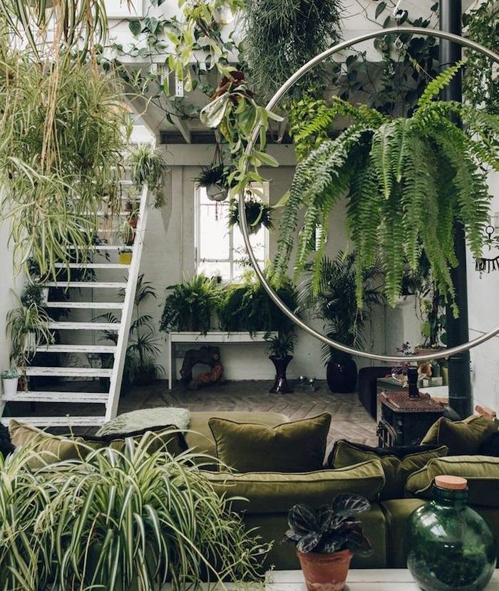 decoration style jungle dans un salon envahi par la végétation, canapé vert olive, escalier blanc, plusieurs plantes retombantes