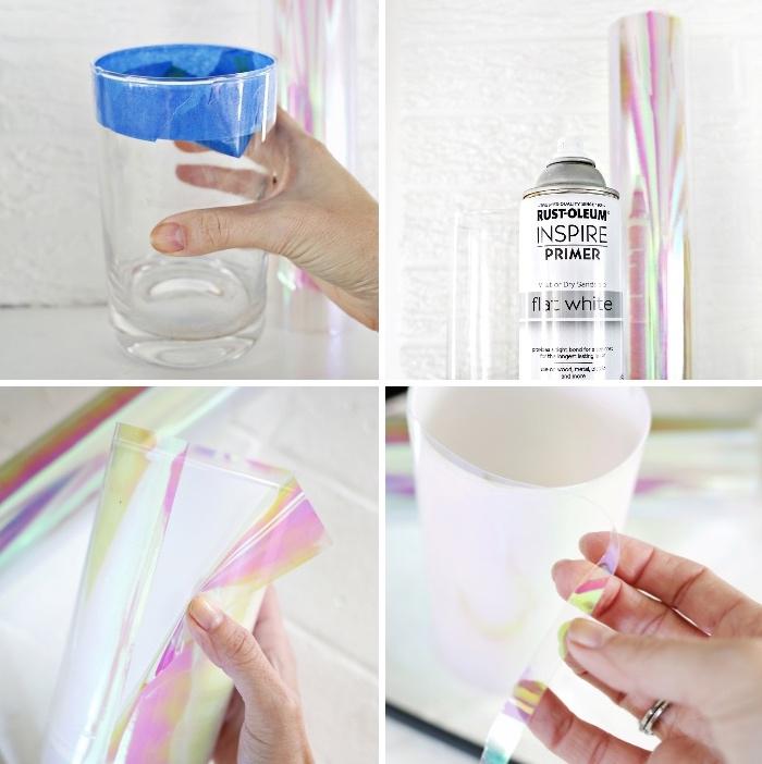 deco de table avec vase enrobé de papier holographique, déco de table facile à faire