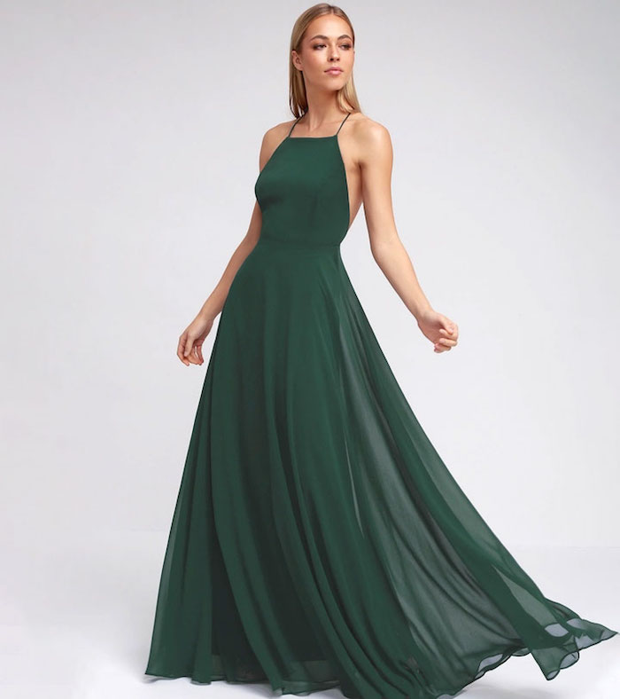 Verte robe longue évasée, robe habillée, robe de soirée chic, idée robe mariage invité