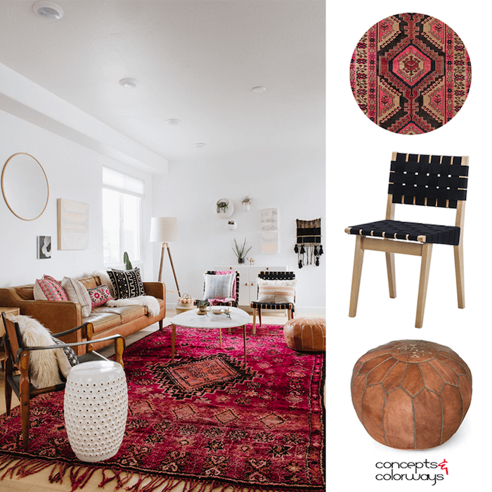 Idée tapis berbère et intérieur scandinave avec déco bohème, deco ethnique, coussin berbere, design d'intérieur bohème chic