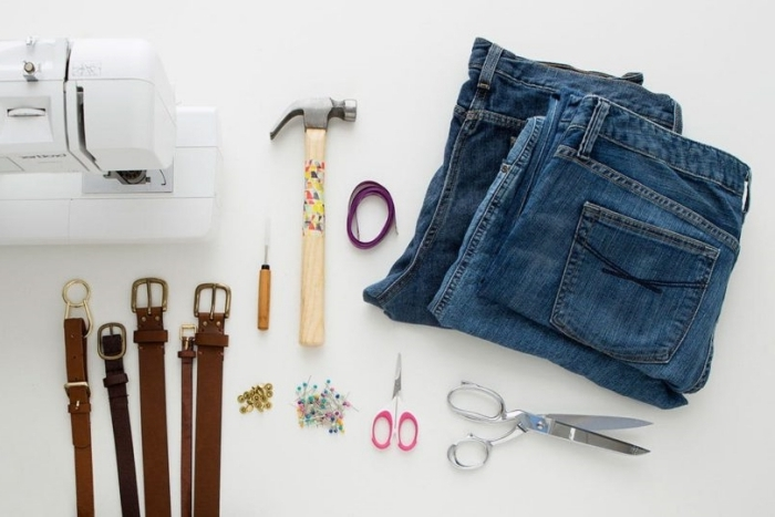 idée comment faire un sac facile en matériaux recyclés, modèles de sacs en tissu à faire soi même