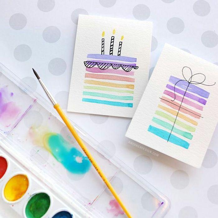 Carte de voeux, quel dessin d'anniversaire faire soi meme, image joyeux anniversaire, peinture aquarelle