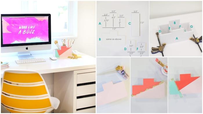 Faire un organisateur de bureau matériaux, blanc bureau avec rangement en dessous, diy deco bureau, diy décoration de bureau faire soi meme