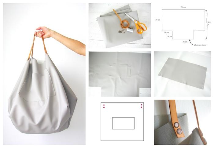 Simple gros sac en tissu simili cuir, tuto couture en trois pas, faire un sac à courses simple ou sac à main pour ramasser tout