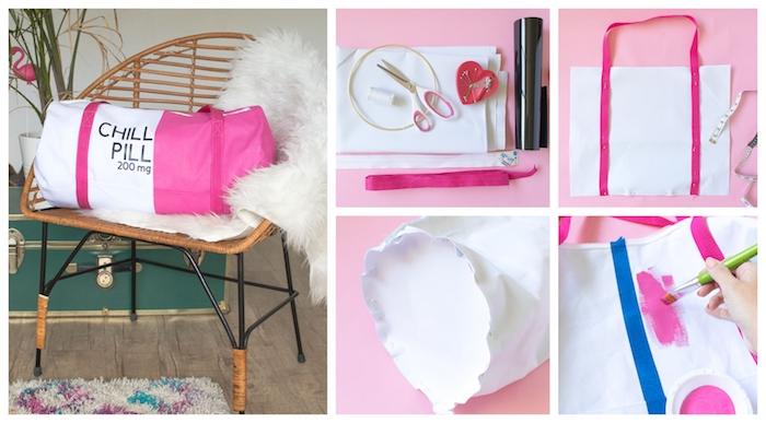 Rose et blanc sac de sport à faire soi meme, unique idée de colorer un sac blanc ronde tupe à faire, tuto sac cabas, sac pour faire les course