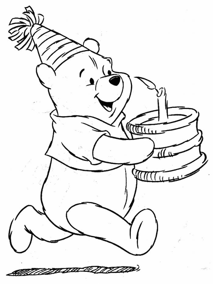 Pooh l'ourson avec un gâteau à la main, dessin gateau anniversaire et ourson mignon, dessin d'anniversaire simple en noir et blanc