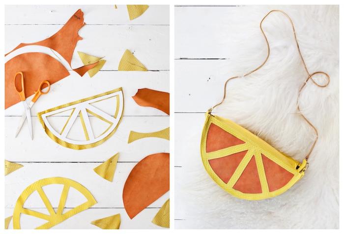 Citron sac à main moderne pour l'ete, simple tuto sac à la forme de tranche d'orange, couture facile et rapide, idée de sac à main