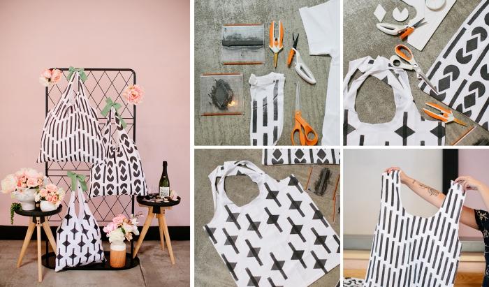 Mur rose installation de sacs aux differents motifs faites à l'aide d'éponge, sac noir et blanc couture facile, tuto couture, comment coudre un sac simple