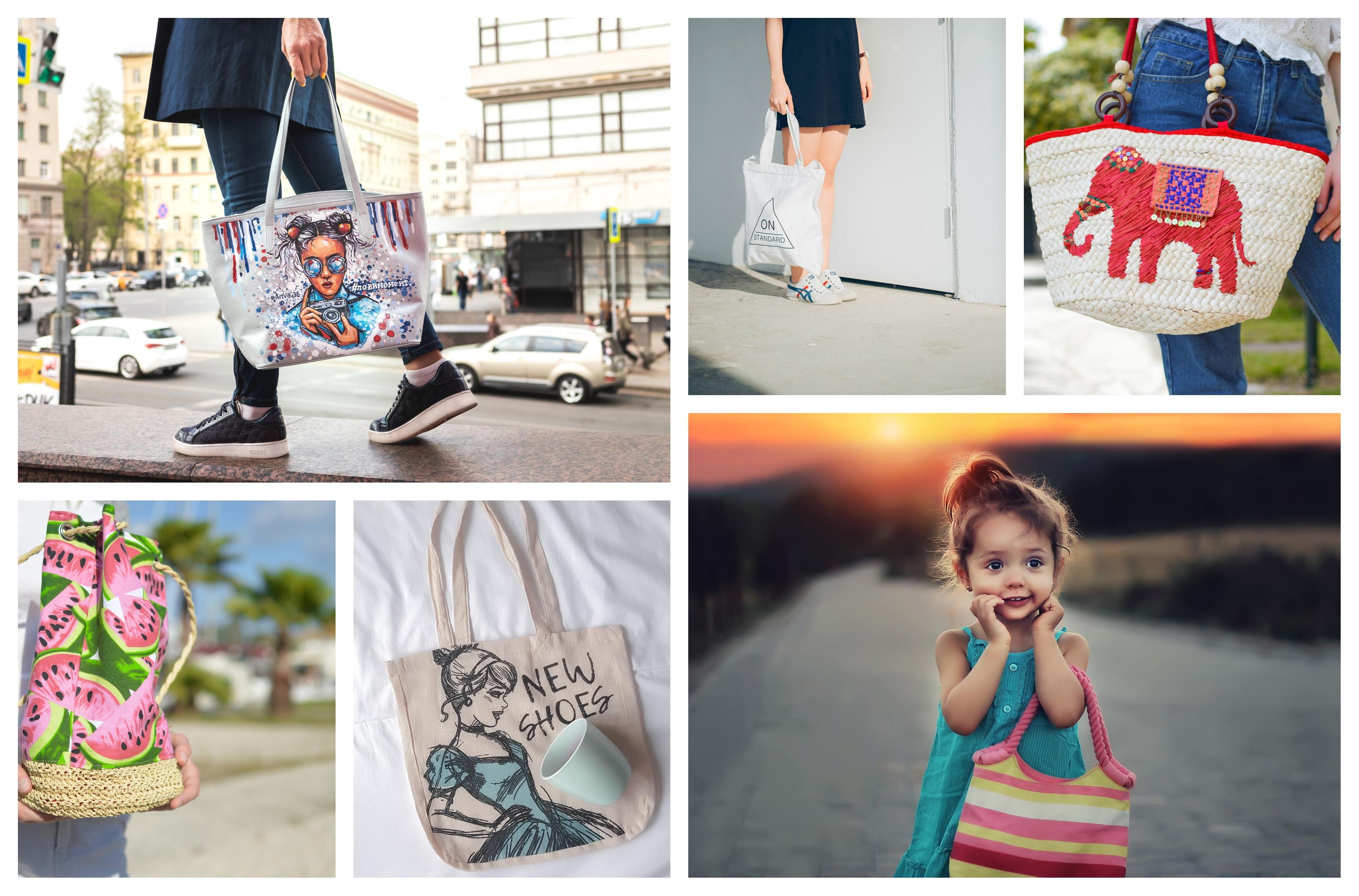 Les plus beaux modèles de sacs en tissu à faire soi-même, idée projet diy facile, dessiner une fille coloré ou des pastèques, petite fille avec sac rayé rose et jaune