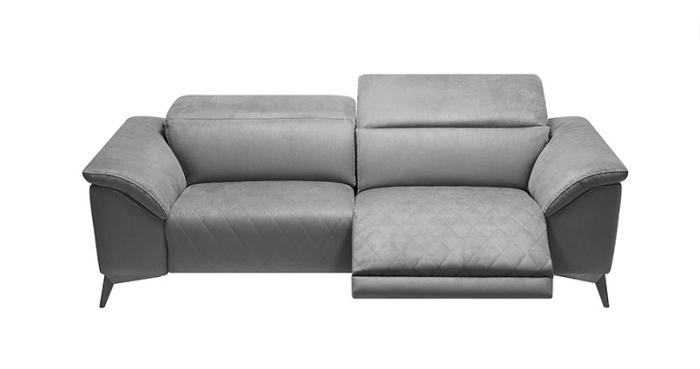 Modèle de canapé relaxation couleur gris en polyester avec siège pivotant électrique de chez Crozatier