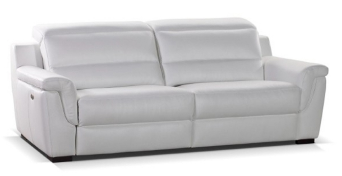 canapé en cuir blanc deux places, meuble Crozatier haut de gamme avec assises électriques