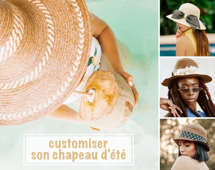 modèle capeline beige avec ruban, comment customiser un chapeau de plage, bricolage été facile et rapide