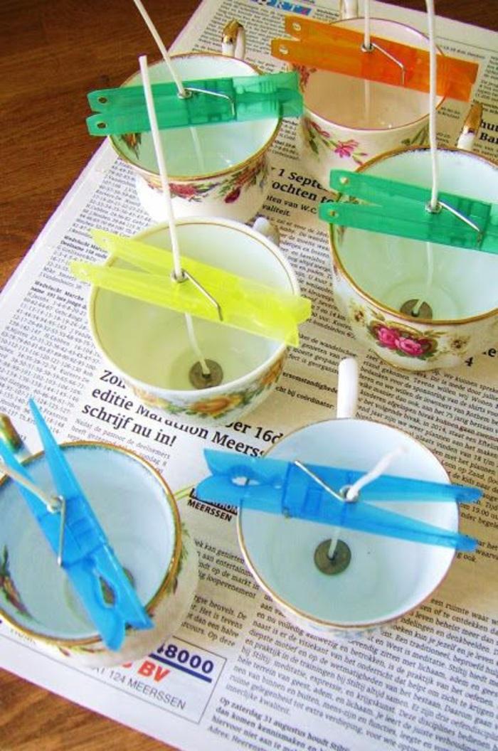 idée contenant pour bougie fait maison, faire une bougie dans une tasse de thé, activité manuelle facile et rapide