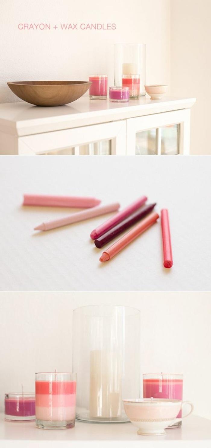 exemple de bougie diy en couleurs pastel, fabrication de bougie facile, bougie fait maison dans contenants en verre