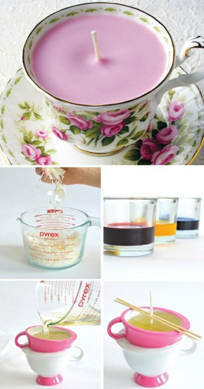 faire fondre une cire bougie au bain marie, bougie colorée en violet dans une tasse de thé blanche aux motifs floraux
