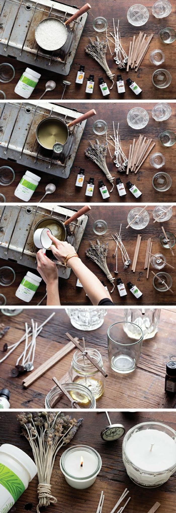 pas à pas creation bougie facile, faire fondre une cire pour bougie au bain marie, avec quoi décorer une bougie fait maison