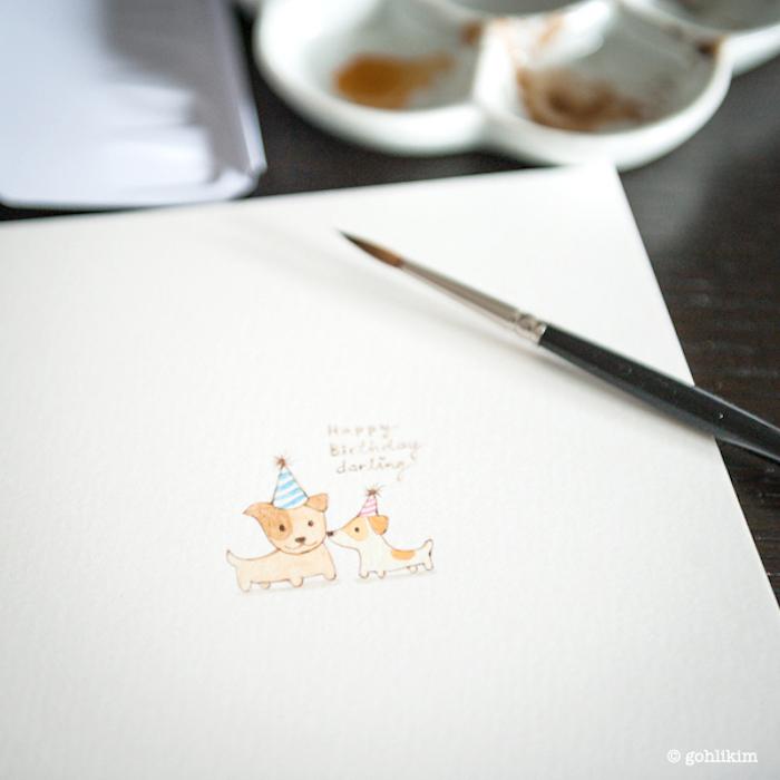 Deux chiens qui fêtent un anniversaire, mignonne idee que dessiner sur une carte de voeux diy, image anniversaire humour, dessin d'anniversaire