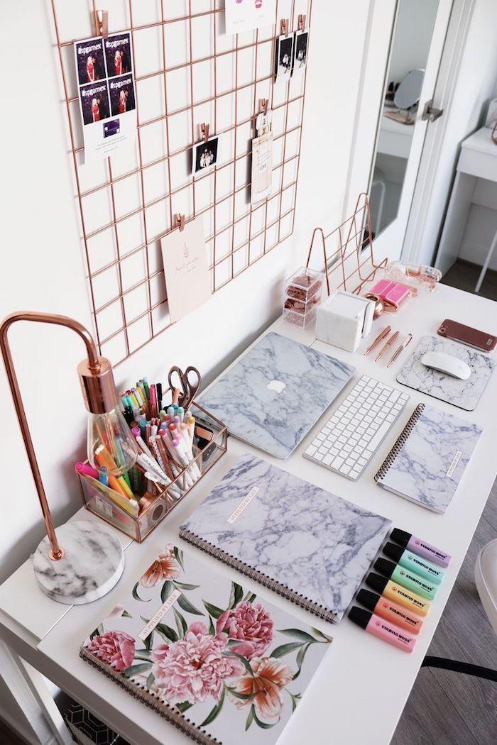 Cool idée comment bien organiser son bureau, decoration bureau à domicile, simple idée pour bien décorer