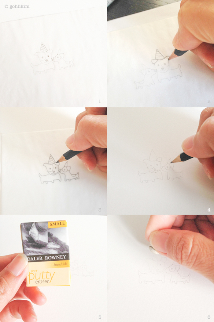 Comment dessiner un chien utilisant papier transparente, image anniversaire humour, dessin d'anniversaire