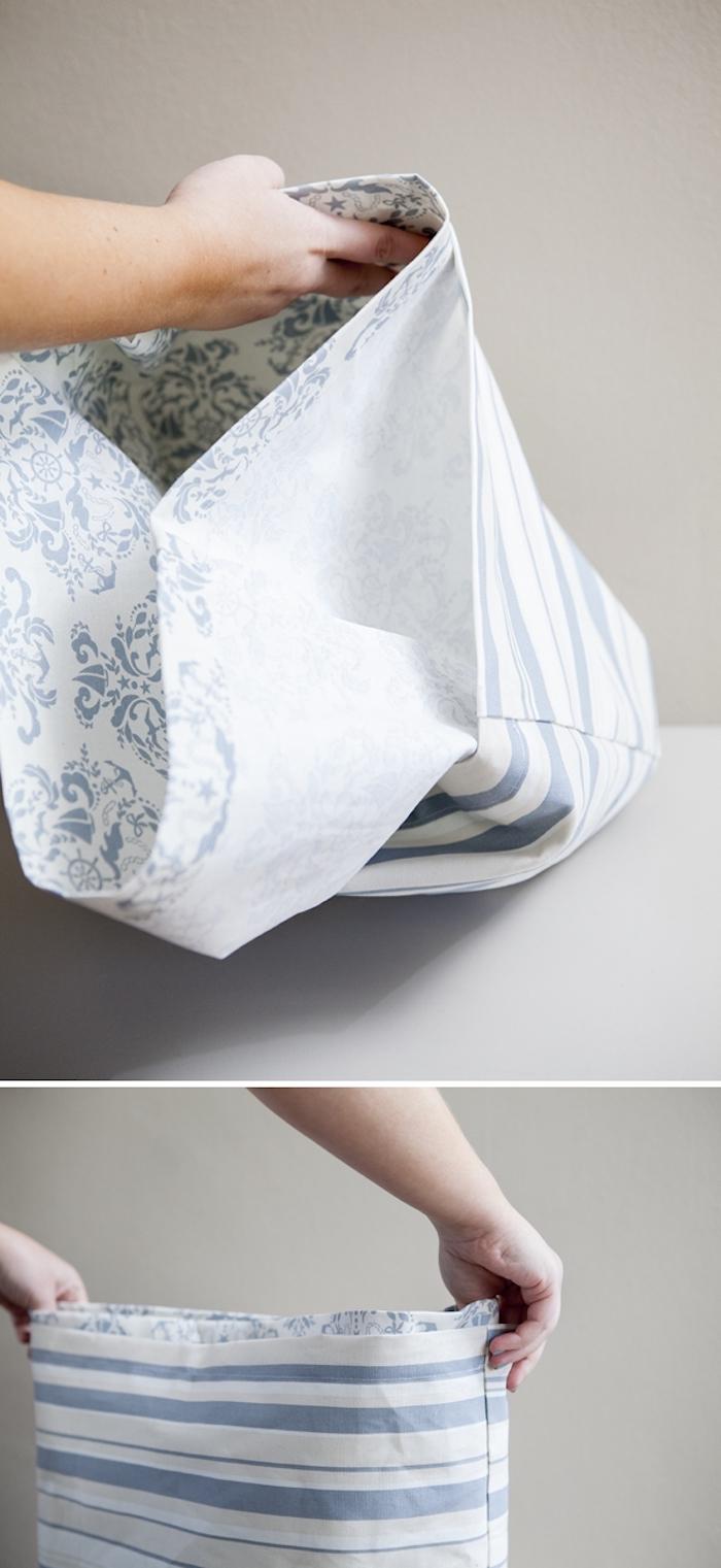 Bleu et blanc sac en tissu avec doublure à motif different, tuto couture, sac multifonctionnel bandoulière, idée pour faire un sac à main en tissu
