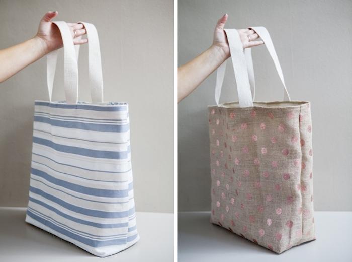 Diy facile sac deux côtés, couture facile de sac à bandoulière, idée moderne sac de plage tendance