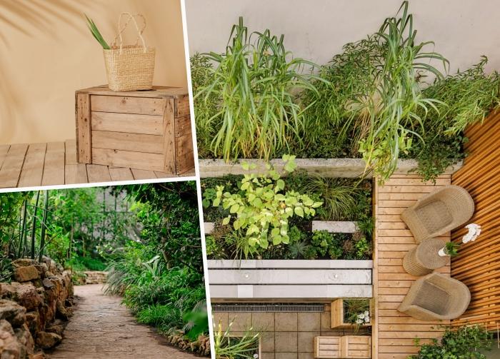 idee amenagement jardin sur différents niveaux, allée de jardin en pierre, petite terrasse en bois avec meuble tressé