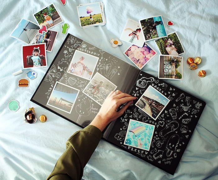 Pages noires adhésifs, dessin blanc sur papier noir, livre scrapbooking, album scrapbooking, comment s'organiser pour faire une belle page d'album de photo style scrapbook