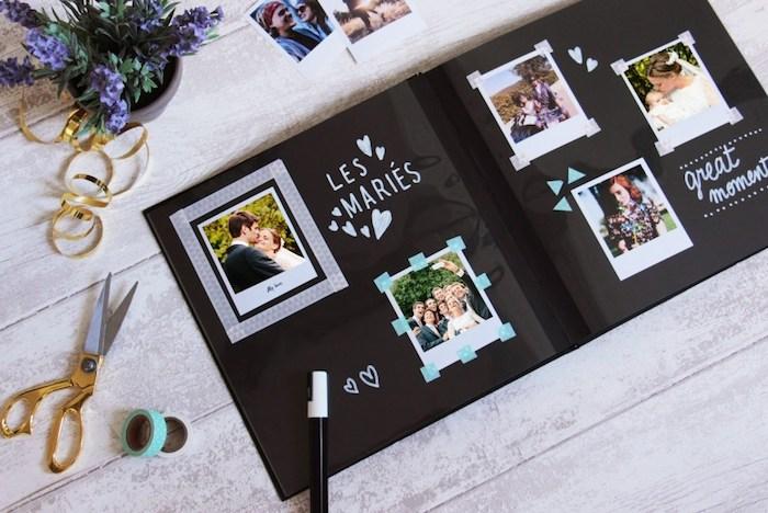 Mémoires de mariage, album de mariage original, livre scrapbooking, album scrapbooking, comment l'organiser, papier noir et photos polaroid
