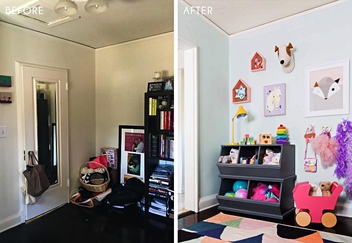 l'avant et l'après d'un coin de jeux, coffre a jouet en bois peint gris à deux niveaux avec trois compartiments