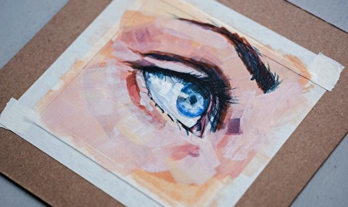 détails du visage à peindre à l'acrylique, conseils pour débuter la peinture à l'acrylique, comment peindre un oeil réaliste à l'acrylique