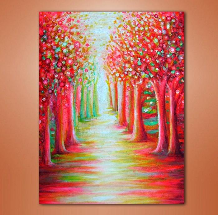 peinture moderne paysage sur toile à l'acrylique en rouge, rose, vert et jaune, paysage forêt à l'acrylique