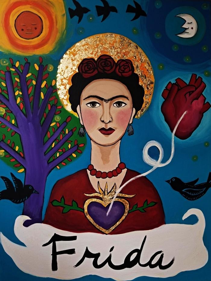 tableau peinture portrait frida kahlo à l'acrylique, toile en acrylique multicolore, portrait frida kahlo avec oiseau, arbre lune et coeur anatomique