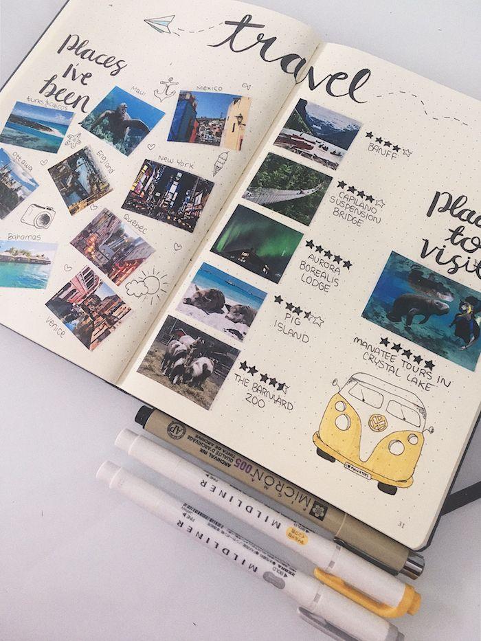 Voyage scrapbooking carnet, album scrapbooking avec photographies de voyage, dessin van de wolksvagen et décorations, endroits dont j'ai visité