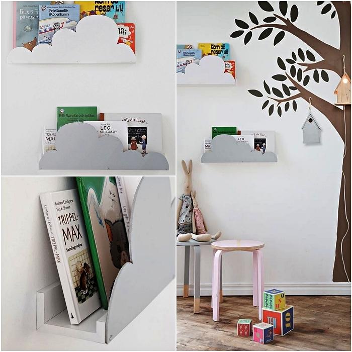 astuce rangement ikea pour la chambre d'enfant, étagère ikea personnalisée à design nuage, sticker mural arbre dans pour chambre d'enfant