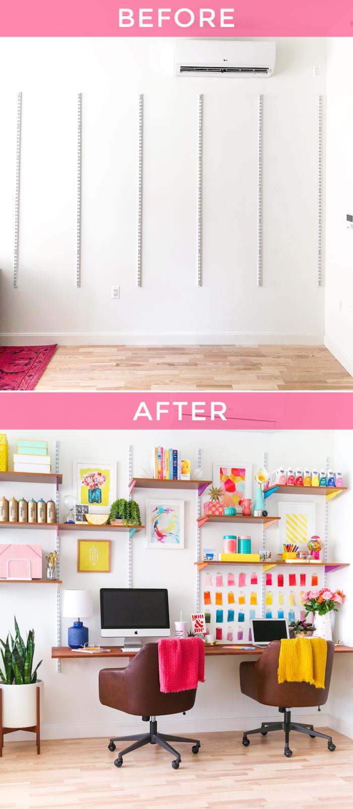 Photo avant apres coin bureau, décoration de bureau dans la chambre à coucher, créer de l'atmosphère joviale