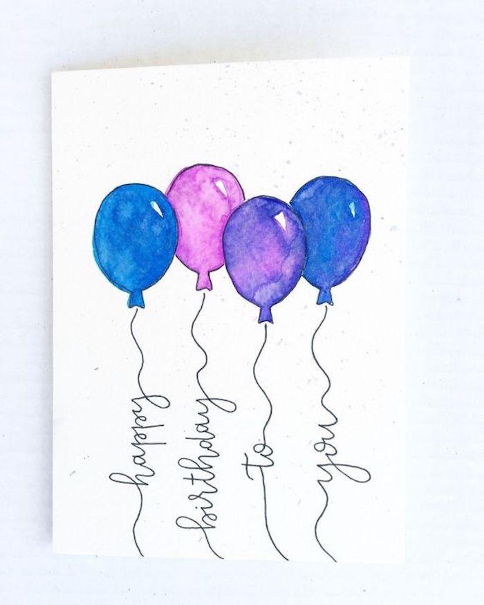 Carte de voeux avec dessin de ballons, image joyeux anniversaire humour, dessin anniversaire