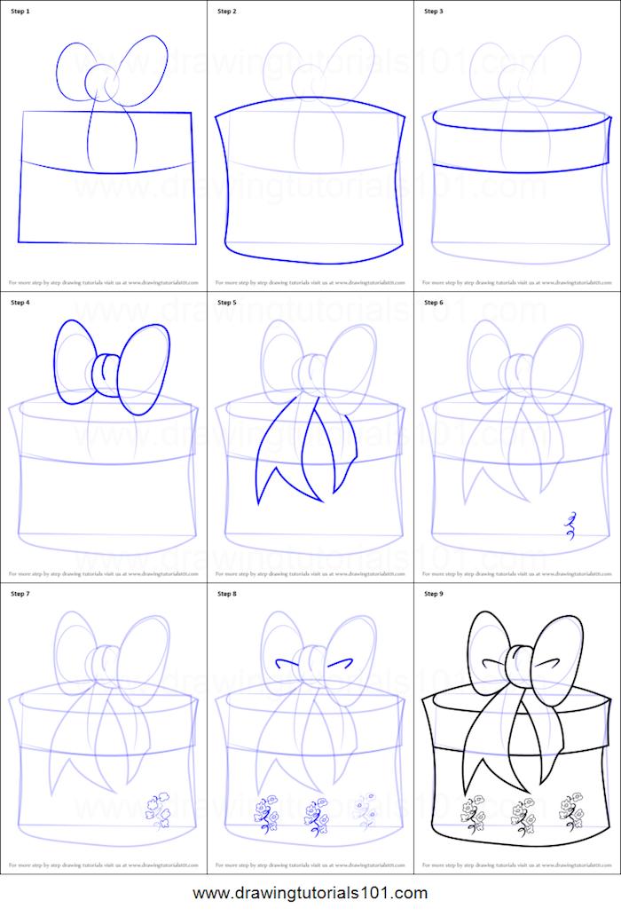 Cadeau ronde boite, dessin joyeux anniversaire, dessin anniversaire, ruban sur cadeau