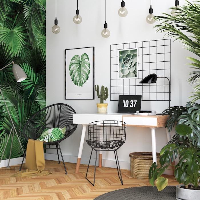 Papier peint palmiers, adorable chambre style bohème chic, bureau fait maison, décoration de bureau, déco chambre à coucher