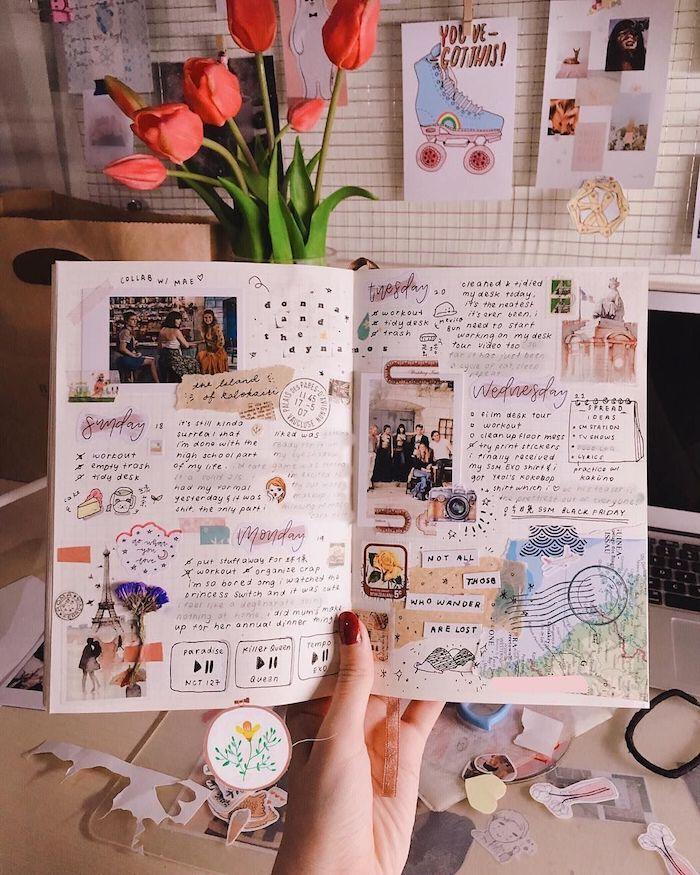 Dessins dans un carnet de croquis, idée de page pour album photo diy, comment faire un livre scrapbooking