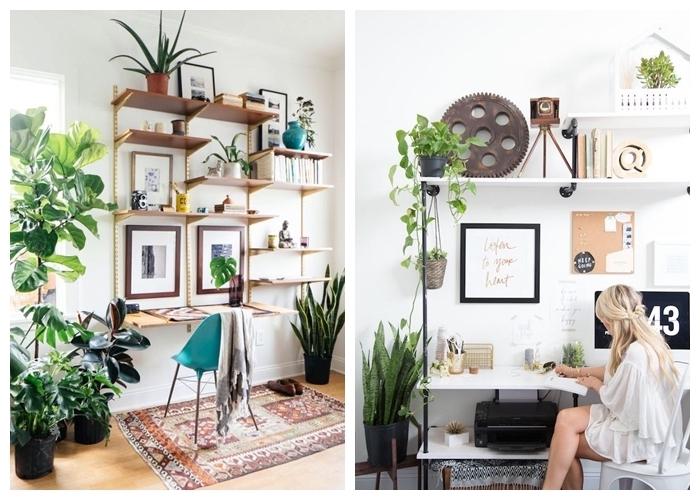Bohème chic déco chambre, scandinave bureau maison avec rangement étagères, deco bureau, ikea rangement bureau