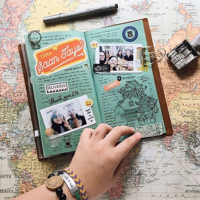 Main avec bracelets, fabriquer un carnet, album photo scrapbooking, carte du monde pour fond