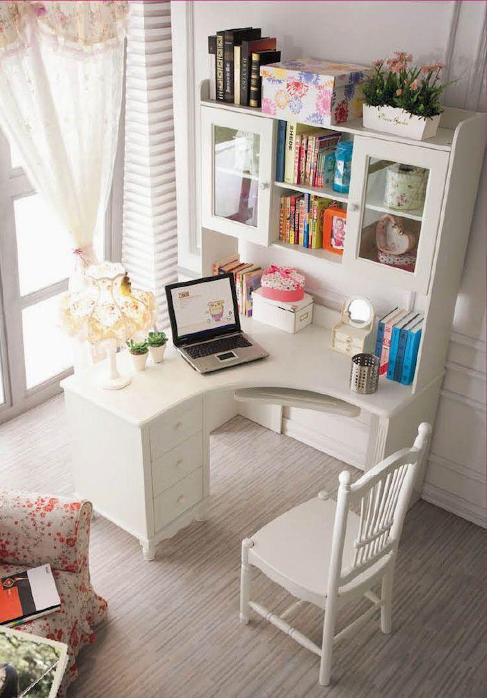 Bureau avec étagère, bureau en angle couleur blanc, chambre fille ado, décoration bureau professionnel, deco bureau