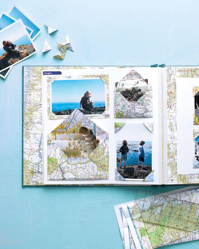 Page blanche avec photos de vacances d'été, cadre photo d'une carte de monde, comment faire un carnet de voyage, album photo scrapbooking