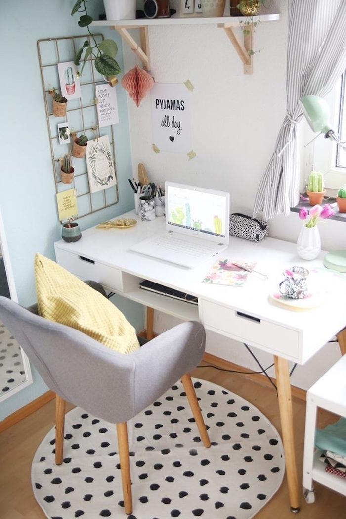 Blanc bureau deco emprunté pyjamas toute la journee, travailler de chez soi ikea rangement bureau meuble et décoration
