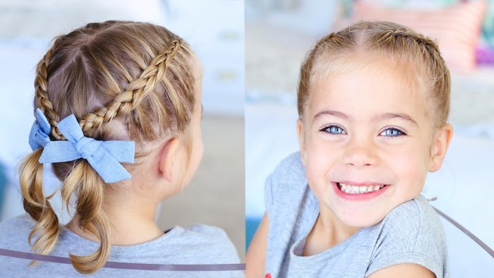 Idée adorable de coiffure cheveux mi-longs, deux tresses natte africaine et papillons bleus, coiffure pour fillette, faire une coiffure à sa fille