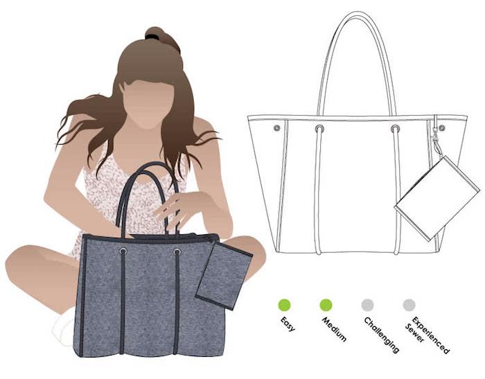 Couture facile, diy modèles de sacs en tissu tendance, dessin de modèle et d'une fille qui utilise le sac fait par elle