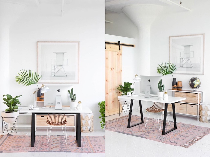 Ikea bureau blanc à pieds noirs, deco bureau plantes vertes et grand tableau blanc photo art, coin bureau dans une chambre scandinave