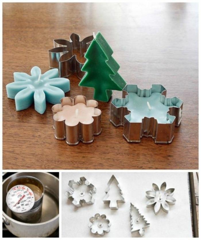 loisir créatif pour noel, fabrication bougies en formes de sapin et flocons de neige de couleurs pastel, creation bougies noel